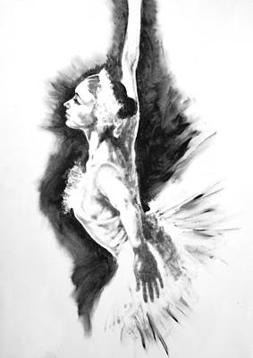 Ballerina Painting - Ethereal Black And White Ballerina Poster 3  - By Diana Van by Diana Van