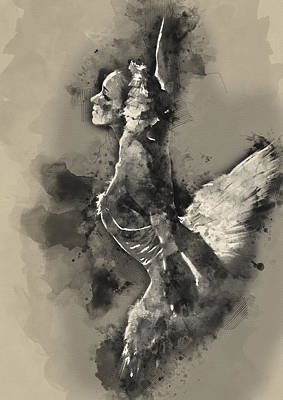 Ballerina Painting - Ethereal Black And White Ballerina Poster 8  - By Diana Van by Diana Van