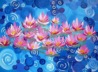 Waterlily Drawing - Ethereal Lotus by Cathy Jacobs