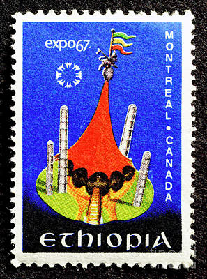 Old Montreal Photograph - Ethiopia Expo67 - Stamp  by Paul W Faust - Impressions of Light