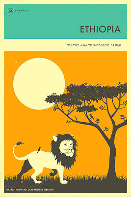 Lion Digital Art - Ethiopia Travel Poster by Jazzberry Blue