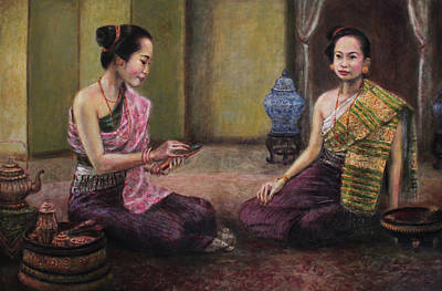 Laos Painting - Etiquette by Sompaseuth Chounlamany