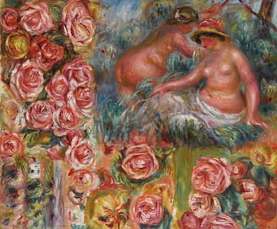 Pierre-auguste Renoir Painting - Etude De Nus Et De Fleurs by Pierre-Auguste Renoir