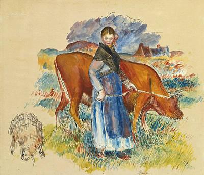 Pierre-auguste Renoir Drawing - Etude Pour La Bergre. La Vache. La Brebis by Pierre-Auguste Renoir