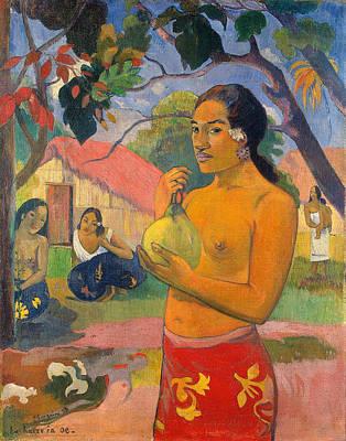 Fruit Painting - Eu Haere Ia Oe, Where Are You Going by Paul Gauguin