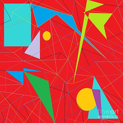 Bright Colours Painting - Euclid's Spider Webs by Eloise Schneider