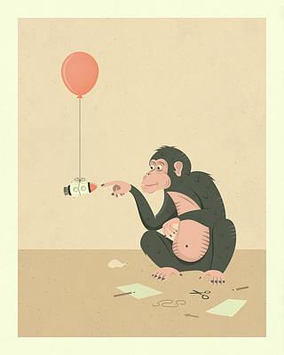 Monkey Digital Art - Eureka by Jazzberry Blue