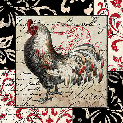 Bantam Painting - Europa Rooster I by Mindy Sommers