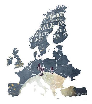 Europe Map Astronauts Print by Justyna JBJart