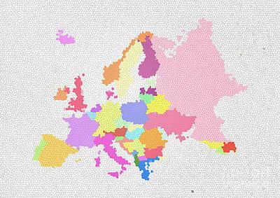 Czech Republic Digital Art - Europe Map On Stained Glass by Setsiri Silapasuwanchai