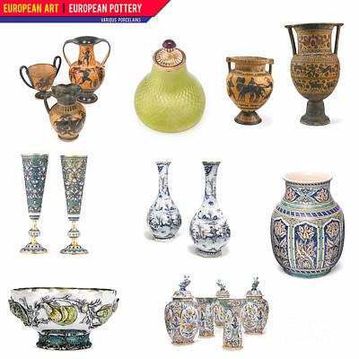 Various Mixed Media - European Art European Pottery - Various Porcelain by Celestial Images
