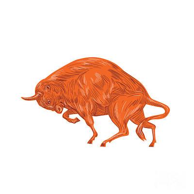 Bison Charge Digital Art - European Bison Charging Drawing by Aloysius Patrimonio