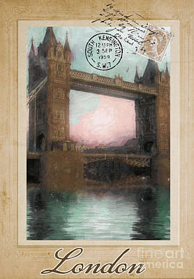European Vacation Postcard London Print by Mindy Sommers