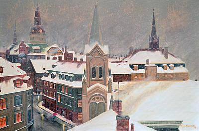 Night Painting - European Winter's Eve by Ken Figurski