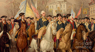 George Washington Drawing - Evacuation Day And Washington's Triumphal Entry In New York City by American School