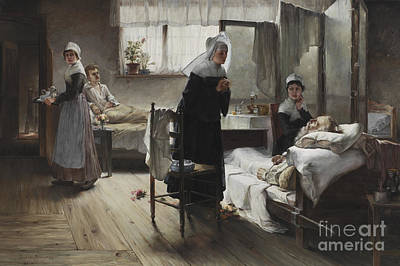Bed Painting - Evangeline Discovering Her Affianced In The Hospital by Samuel Richards