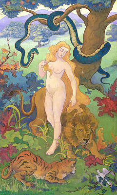 Burmese Python Painting - Eve by Paul Ranson
