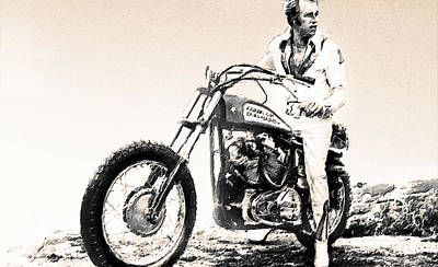 Evel Knievel Painting Sepia Original by Tony Rubino