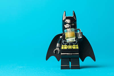 Even Batman Needs A Beer Print by Samuel Whitton