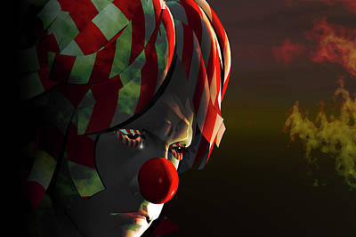 Clown Nose Digital Art - Even Clowns Get The Blues by Carol and Mike Werner