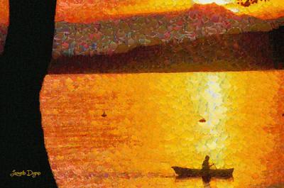 Fisherman Painting - Evening At Lake - Da by Leonardo Digenio