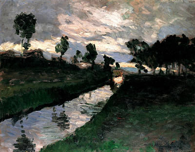 Windblown Painting - Evening At Moorkanal by Otto Modersohn