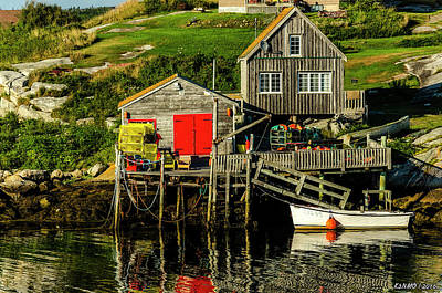 Shed Digital Art - Evening At Peggys Cove by Ken Morris