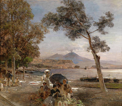 Oswald Achenbach Painting - Evening At The Gulf Of Naples In The Background Vesuvius by Oswald Achenbach