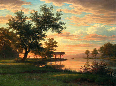 Robert Zuend Painting - Evening Atmosphere By The Lakeside by Robert Zuend