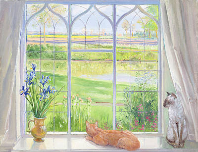 Of Cat Painting - Evening Breeze by Timothy Easton