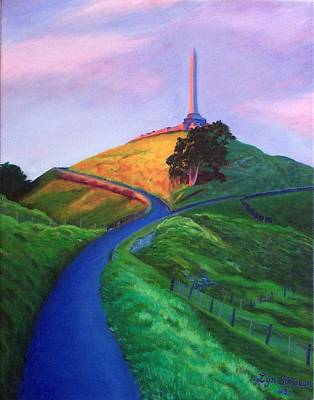 Surreal Painting - Evening Chill One Tree Hill by Lyn Simpson
