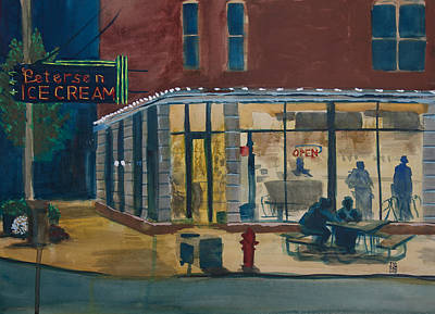 Corner Cafe Painting - Evening Conversations At Petersen's Ice Cream by Ted Gordon