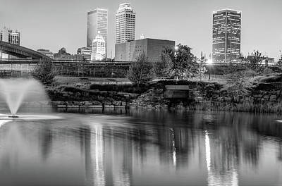 Cities Photograph - Evening Falls On Tulsa Skyline Black And White by Gregory Ballos