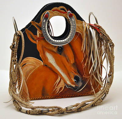 Horse Purse Painting - Evening Flame Tote by Naia Hannah Haast
