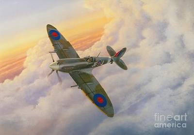 Spitfire Painting - Evening Flight by Michael Swanson