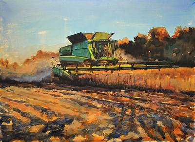 Farm Fields Painting - Evening Harvest by Spencer Meagher