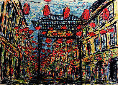 London Skyline Drawing - Evening In Chinatown, London by K McCoy
