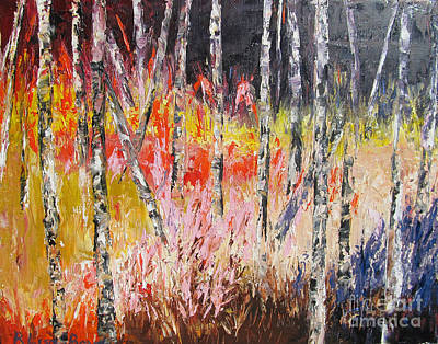 Evening In The Woods Pallet Knife Painting Print by Lisa Boyd