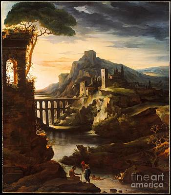 Evening Landscape With An Aqueduct Print by Celestial Images