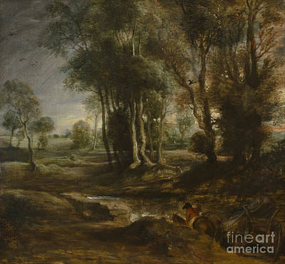 Pau Painting - Evening Landscape With Timber Wagon by Celestial Images