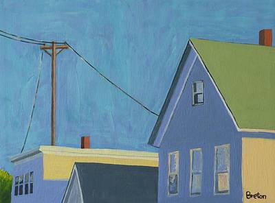 Rooftops Painting - Evening by Laurie Breton