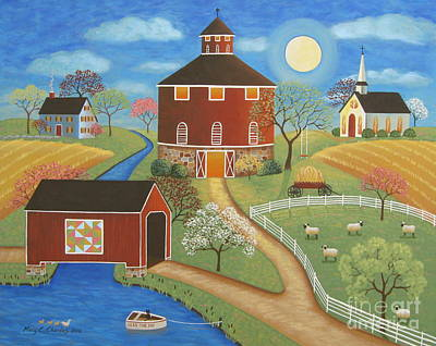 Covered Bridge Painting - Evening Meadow by Mary Charles