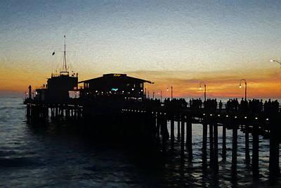 Santa Monica Digital Art - Evening On The Pier by Ernie Echols