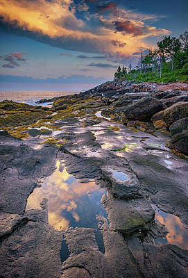 Cumulus Photograph - Evening Reflection, Bristol, Maine by Rick Berk