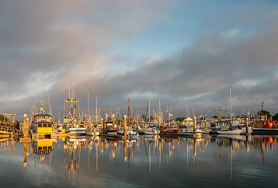 Evening Reflections On Woodley Island Marina Print by Greg Nyquist