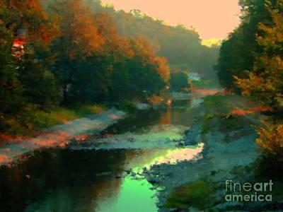 Evening River Print by Miroslav Nemecek