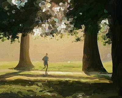 Hyde Park Digital Art - Evening Run In Hyde Park by Stig Kristensen