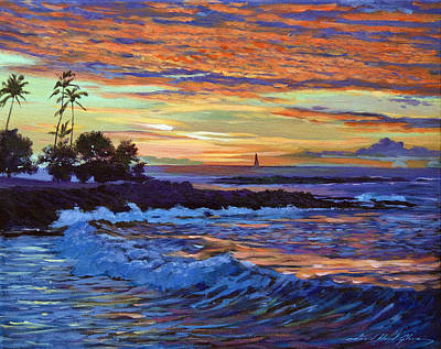 Oahu Painting - Evening Sail Hawaii by David Lloyd Glover