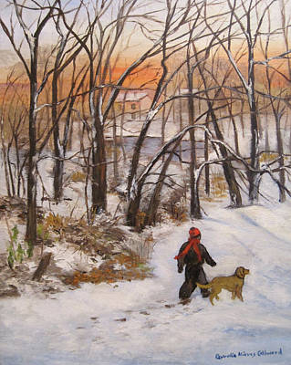 Dogs In Snow Painting - Evening Stroll by Aurelia Nieves-Callwood