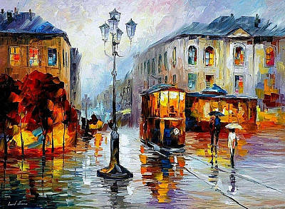 Painting - Evening-trolley On The Square - Palette Knife Oil Painting On Canvas By Leonid Afremov by Leonid Afremov